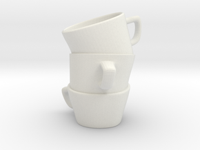 Three Cup Stl in White Strong & Flexible