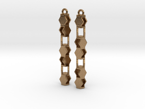 Stacked Hexagon Earrings in Natural Brass