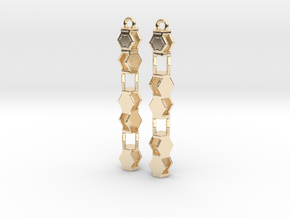 Stacked Hexagon Earrings in 14k Gold Plated Brass