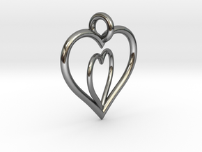 Love Hearts in Fine Detail Polished Silver