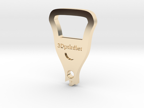 Bottle Opener - 3Dprintler  in 14K Gold