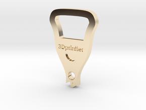 Bottle Opener - 3Dprintler  in 14k Gold Plated Brass