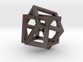 4d Cube in Polished Bronzed Silver Steel
