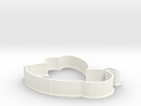 Bumble Bee cookie cutter in White Strong & Flexible Polished