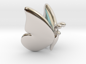 Butterfly 1 - S in Rhodium Plated Brass