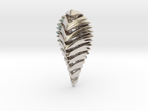 skeleton abstract, pendant in Rhodium Plated Brass
