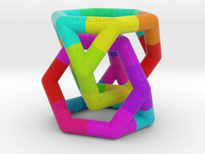 0291 Two Truncated Tetrahedron E (a=1cm, fc) in Full Color Sandstone