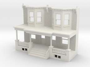 WEST PHILLY ROW HOME FRONT O SCALE TWINS in White Natural Versatile Plastic