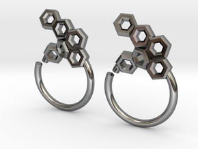 Honeycomb Seam Ring in Fine Detail Polished Silver