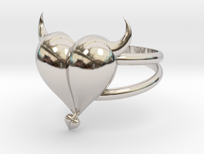 Size 9 Evil Heart Ring in Rhodium Plated Brass