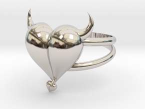 Size 8 Evil Heart Ring in Rhodium Plated Brass