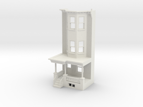 O scale WEST PHILLY 3S ROW HOME  Brick LD FRONT in White Natural Versatile Plastic