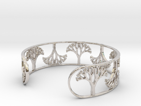 Natural Tree Bracelet 7in (18cm)  in Rhodium Plated Brass