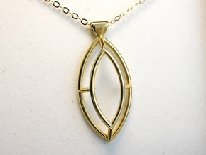Marquise Simple Wire Pendant - Large in 18k Gold Plated Brass