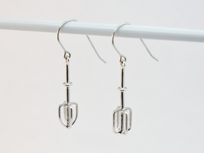 Mixer Beater Earrings in Rhodium Plated Brass