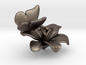 Butterfly And Lily Flower - S in Polished Bronzed Silver Steel