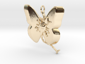 Multiple Sclerosis Neuron Butterfly in 14k Gold Plated Brass