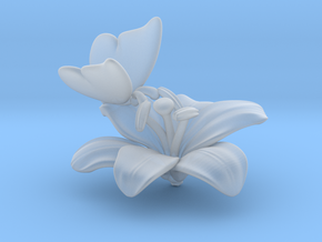 Butterfly And Lily Flower - L in Smooth Fine Detail Plastic