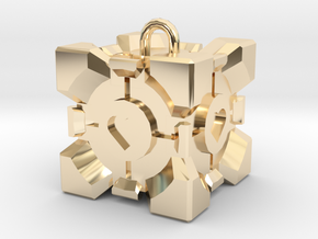 Companion Cube Pendant in 14K Yellow Gold