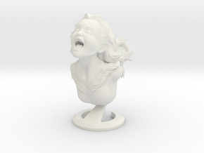 """Joyful Yell"" bust in White Natural Versatile Plastic"