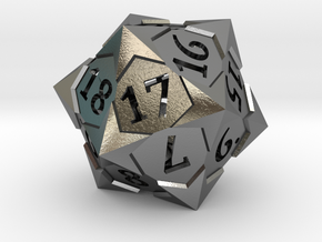 'Starry' D20 Spindown Life Counter Die in Polished Silver