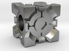 Companion Cube Bead in Natural Silver