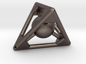 Small Tetra with Sphere (big reinf.) in Polished Bronzed Silver Steel