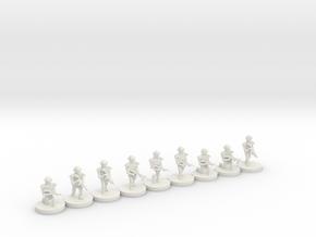 10mm Squad (ECH,IOTV,M4,M203,M249) in White Natural Versatile Plastic