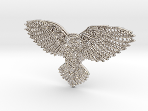 Owl Pendant in Rhodium Plated Brass