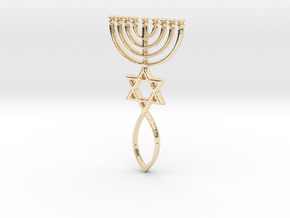 Messianic Seal Pendant in 14k Gold Plated Brass
