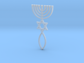 Messianic Seal Pendant in Smooth Fine Detail Plastic