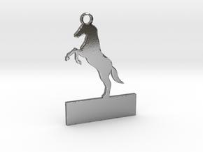 Custom horse keychain in Polished Silver