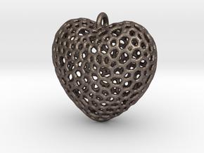 Heart Pendant #1 in Polished Bronzed Silver Steel