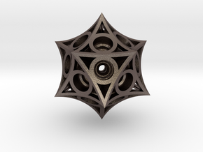 Icosahedron Magnet Ball Lattice in Polished Bronzed Silver Steel