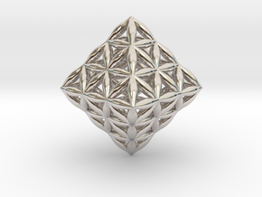 Flower Of Life Octahedron in Rhodium Plated Brass