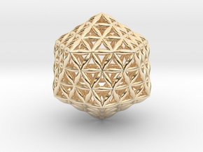 Flower Of Life Icosahedron in 14k Gold Plated Brass