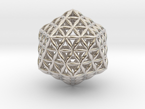 Flower Of Life Icosahedron in Rhodium Plated Brass