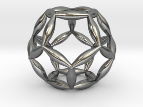 Flower Of Life Dodecahedron in Polished Silver