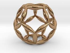 Flower Of Life Dodecahedron in Polished Brass