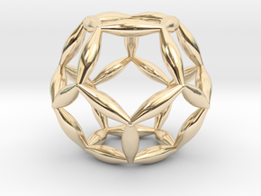 Flower Of Life Dodecahedron in 14k Gold Plated Brass