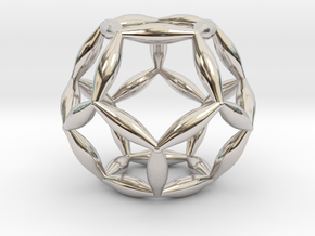 Flower Of Life Dodecahedron in Rhodium Plated Brass