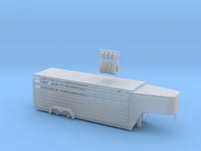 1/64 24' Cattle Trailer Slat Style (door on left s in Smooth Fine Detail Plastic