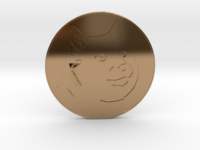 Dogecoin in Polished Brass