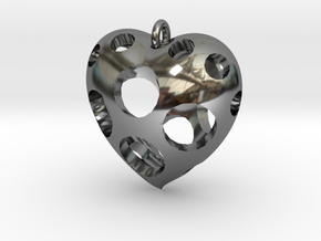 Heart Pendant #3 in Fine Detail Polished Silver