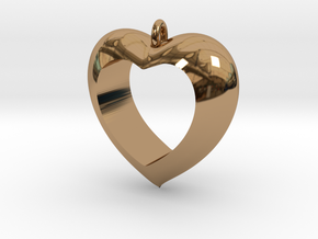 Heart Pendant #4 in Polished Brass