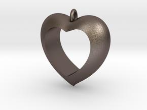Heart Pendant #4 in Polished Bronzed Silver Steel