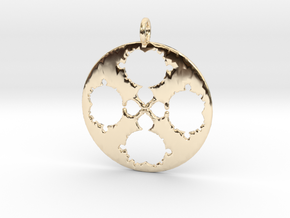 Mandelbrot Clover Pendant in 14K Yellow Gold