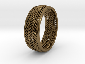 Herringbone Ring in Polished Bronze
