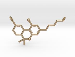 THC (Tetrahydrocannabinol) Pendant in Polished Gold Steel