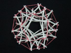 Tensegrity Icosidodecahedron 2 in White Natural Versatile Plastic